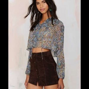 Nasty Gal After Party Avery Paisley Boho Crop Top